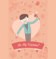 valentine card with be my valentine words vector image vector image