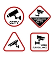 Video surveillance set white labels vector image