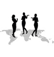 woman silhouette with hand gesture presenting vector image vector image