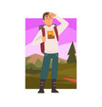 young man travelling with backpack male traveller vector image vector image
