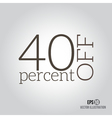 40 sale Price off icon with 40 percent discount vector image