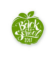 back to school on apple shape vector image