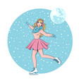 beautiful girl with long hair skates in winter on vector image vector image