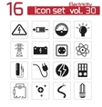 Black electricity icons set