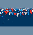 blue background with flags and confetti vector image