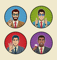 businessman pop art icons vector image