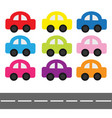 cartoon car set and horizontal road baby kids vector image