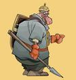 cartoon fairytale man warrior with spear and vector image vector image