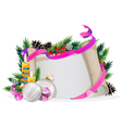 Christmas wreath with silver baubles and burning vector image vector image