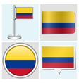 Colombia flag - sticker button label flagstaff vector image vector image