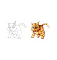 cute cartoon kitten ginger hand drawn doodle vector image
