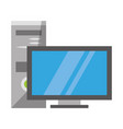 desk computer monitor and cpu technology vector image vector image