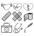 Doodle design of the different medical tools vector image vector image