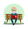 elderly man reads the bible while sitting on a vector image