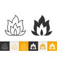 fire simple flame bonfire black line icon vector image vector image