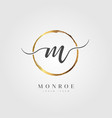 gold elegant initial letter type m vector image vector image