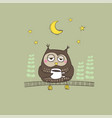 hand drawn sleepy owl with a cup coffee vector image vector image