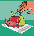 hand grabbing fruits vector image