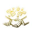 handshake two businessmen sketch vector image