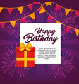 happy birthday greeting card colorful fireworks vector image vector image