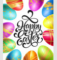happy easter background template with lettering vector image vector image