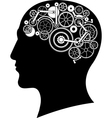 head with gear brain vector image vector image