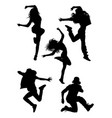 hip hop modern dancer silhouette vector image