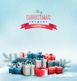 Holiday Christmas background with gift boxes vector image