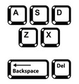 Keyboard keys buttons icons set - backspace vector image