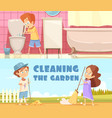 kids cleaning cartoon banners set vector image