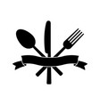 knife fork spoon and ribbon vector image
