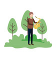 man with saxophone in landscape avatar character vector image vector image