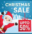 merry christmas sale background with santa claus vector image