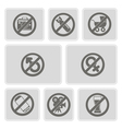 Monochrome icons with prohibiting signs