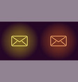 neon icon of yellow and orange mail vector image