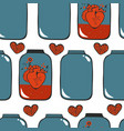 pattern with hearts in jar vector image vector image