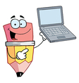 Pencil Cartoon Character Presents Laptop vector image vector image