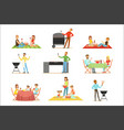 people on bbq picnic outdoors eating and cooking vector image vector image