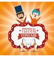 poster festival funfair clown and horses fun vector image