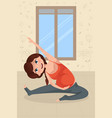 pregnant woman doing yoga exercise vector image vector image