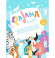 pyjamas party poster invitation for costume vector image vector image