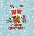 Santa Claus stuck in chimney vector image vector image