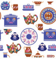 seamless pattern collection handmade ceramics vector image vector image