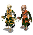 set of zombie samurai isolated on white background vector image vector image