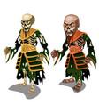 set of zombie samurai isolated on white background vector image