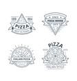set pizza badge design line art vector image vector image