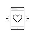 smartphone with heart emoji message on screen line vector image