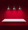 spotlight shelf on wall background design vector image