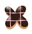 sweet donut font letter x cartoon vector image vector image