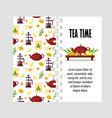 template with teapot french press cup vector image vector image